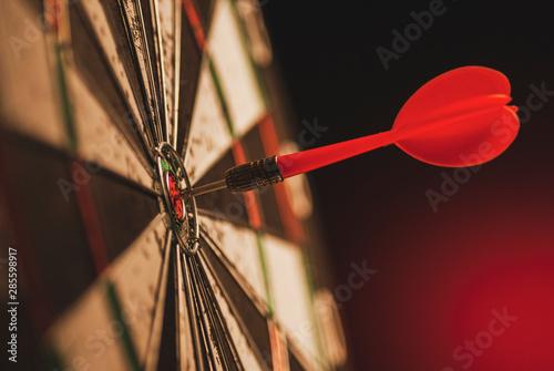 Pinturas sobre lienzo  Successful bulls eye centre dart on a target
