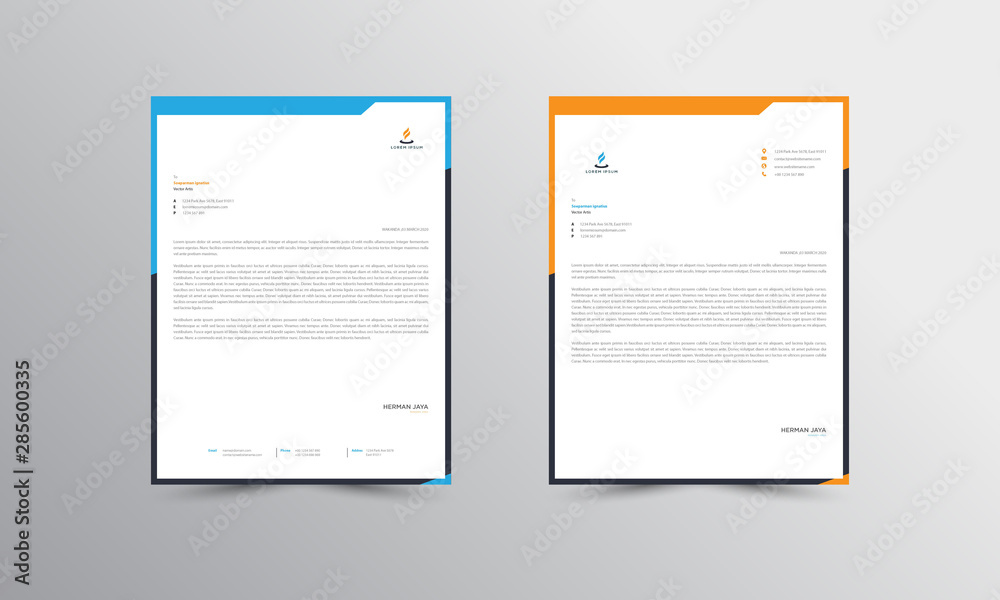 Fototapeta orange and blue Letterhead Design Template - vector