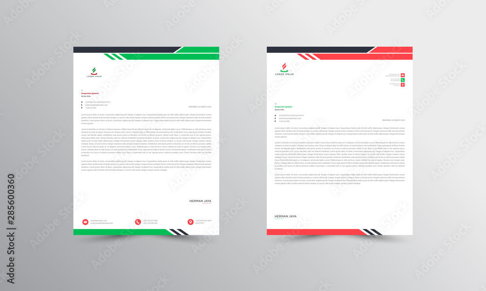 Fototapety, obrazy:  Red and Green Abstract Letterhead Design Template - vector