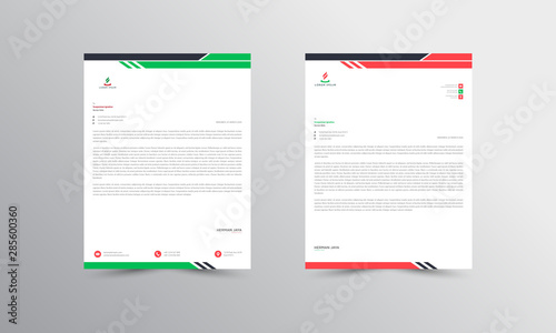 Fototapeta  Red and Green Abstract Letterhead Design Template - vector obraz