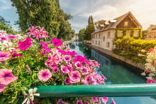 Colorful And Fabulous Landscape With Decorative Flowers And The River Ill And Half-timbered Houses In Strasbourg, France