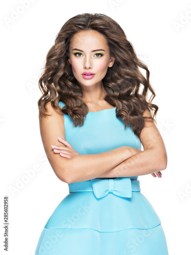Ταπετσαρία τοιχογραφία  Beautiful fashionable woman with long  hair in blue dress