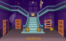 Scary House With Stairs, Ghosts,  Doors, Pumpkins. Halloween сartoon Vector Illustration.