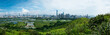 Panorama view of rural green fields with fish ponds between Hong Kong and skylines of Shenzhen,China