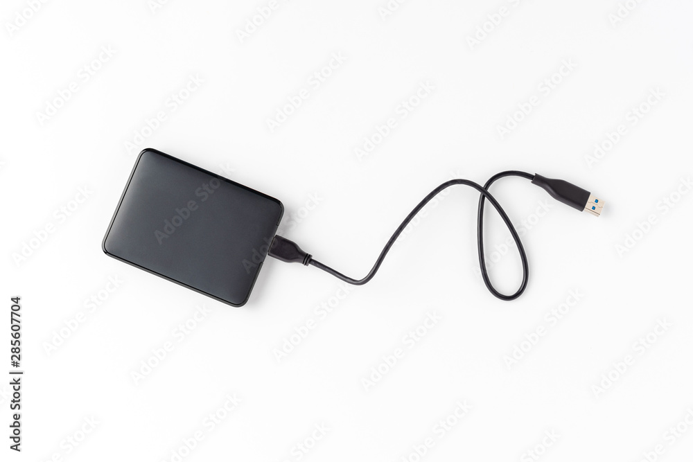 Fototapety, obrazy: Portable hard drive isolated on white background. Top view