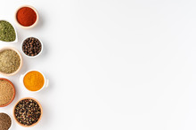 Overhead Shot Of Spices In Bowls Isolated On White Background With Copyspace