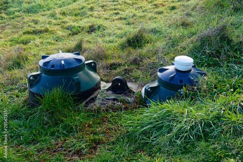 Valokuvatapetti An alternative sewage system, a septic tank