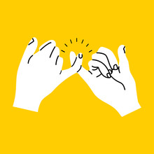 Promise Hands Gesturing On Yellow Background