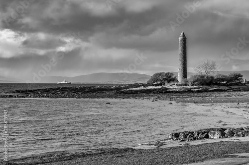 Black & White Largs Foreshore and the Pencil Monument Commemorating the Viking Battle of Largs in 1263 Wallpaper Mural