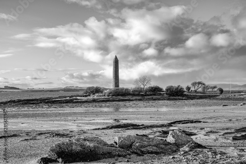 Largs Foreshore and the Pencil Monument Commemorating the Viking Battle of Largs in 1263 Canvas Print