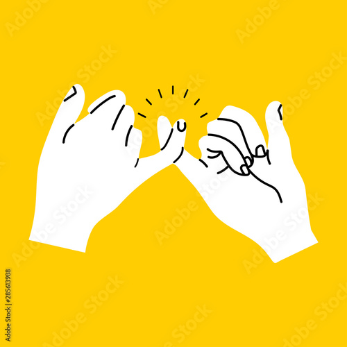 Fototapeta promise hands gesturing on yellow background