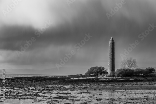 Photo A Black & White Image of Largs Foreshore and the Pencil Monument Commemorating the Viking Battle of Largs in 1263