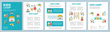 Preschool, Educational Kids Camp Brochure Template Layout. Flyer, Booklet, Leaflet Print Design With Linear Illustrations. Vector Page Layouts For Magazines, Annual Reports, Advertising Posters