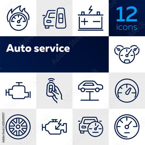 Fototapeta Auto service icon. Set of line icon on white background. Speedometer, engine, wheel. Car mechanics concept. Vector illustration can be used for topics like transportation, service, cars obraz na płótnie