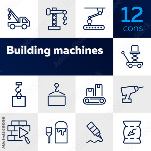 Fototapeta Building machines icons. Set of line icons on white background. Block, engineer, system. Construction concept. Vector illustration can be used for topics like design, manufacturing, industry obraz na płótnie