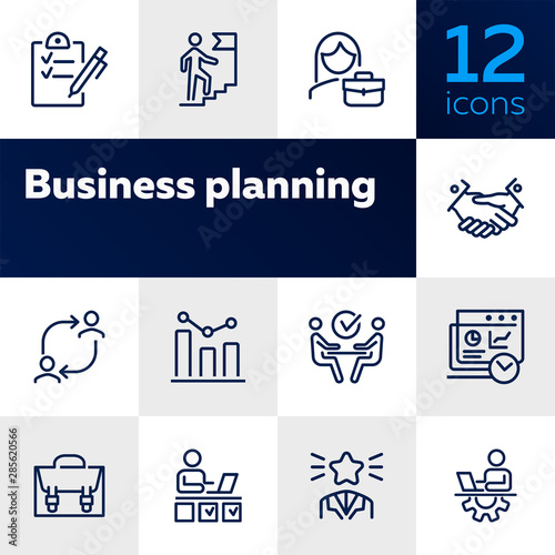 Fototapeta Business success line icon set. Employee, businessman, meeting, handshake. Human resource concept. Can be used for topics like personal efficiency, success, leadership obraz na płótnie