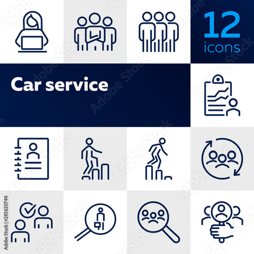 Fototapeta Career ladder line icon set. Set of line icons on white background. Human resource concept. Employee, hiring, HR manager. Vector illustration can be used for topics like work, hiring, career obraz na płótnie
