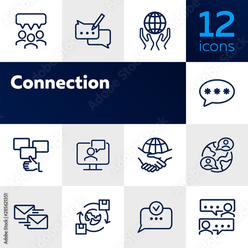 Fototapeta Connection line icon set. Set of line icons on white background. Communication concept. Chat, dialogue, message. Vector illustration can be used for topics like internet, globalization, communication obraz na płótnie
