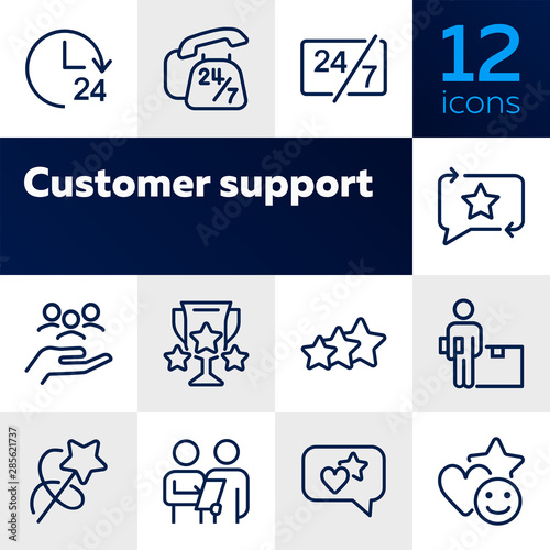 Fototapeta Customer support line icon set. Telephone, courier, order delivery. Service concept. Can be used for topics like feedback, online shopping, rating obraz na płótnie