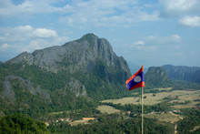 Success Of View Point Pha Nam Xai And Lao Flag At Vang Vieng, Laos, Concept Of Adventure Travel