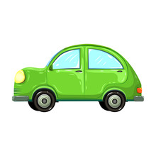 Vector Illustration Of Colorful Green Car Isolated On White Background. Hatchback Green Car Side View. Comic, Or Cartoon Auto. Beetle Green Car In Retro Style. Drawn Eco Friendly Traveler Car.