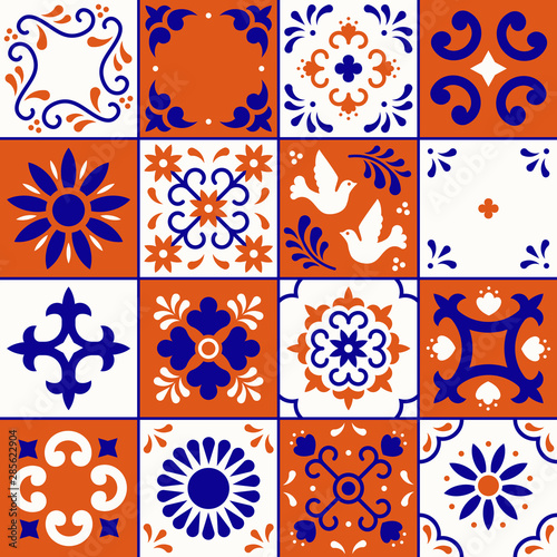 Canvas Print Mexican talavera pattern