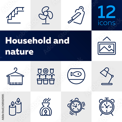 Fototapeta House interior line icons. Set of line icons on white background. Decoration concept. Flowers, stair, candles. Vector illustration can be used for topics like decoration, home, design obraz na płótnie