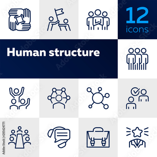 Fototapeta Human structure. Set of line icons on white background. Atom, union, idea. Social concept. Vector illustration can be used for topics like science, business, career obraz na płótnie