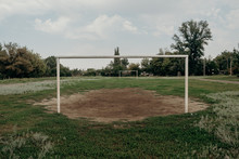 Old Soccer Goal In Field Overgrown Stadium In The Village