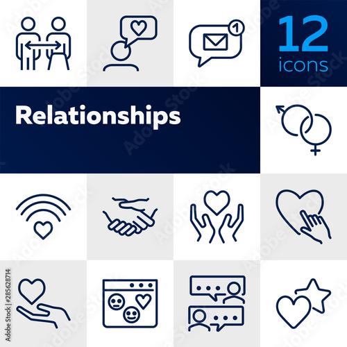 Fototapeta  Relationships line icon set