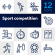 Sport competition icons. Set of line icons. Gym lockers, barbell, swimming pool. Sports activity concept. Vector illustration can be used for topic like professional sport, physical activity, training