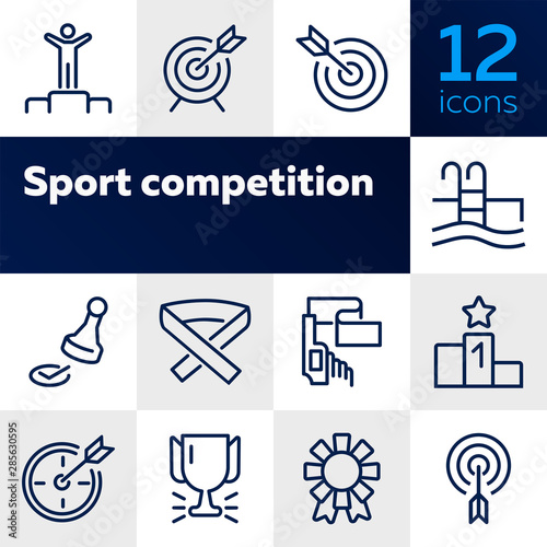 Fototapeta Sport competition line icon set. Set of line icons on white background. Target, arrow, pool. Winning concept. Vector illustration can be used for topics like sport, Olympic games obraz na płótnie