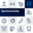 Sportsmanship line icon set. Swimming pool, winner, weight barrel. Sport concept. Can be used for topics like fitness, leadership, healthy lifestyle