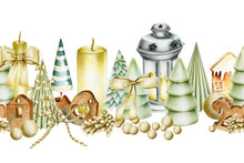 Seamless Border Of Christmas Decorations (lantern, Candles, Cones, Christmas Trees, Wooden Toys), Hand Drawn On A White Background