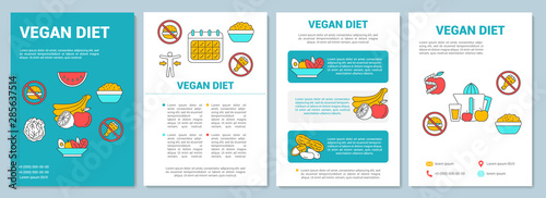Vegetarian diet brochure template layout. Organic nutrition plan flyer, booklet, leaflet print design with linear illustrations. Vector page layouts for magazines, annual reports, advertising posters