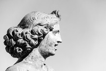 Profile Of Female Head Sculpted On Marble - Black And White Photo