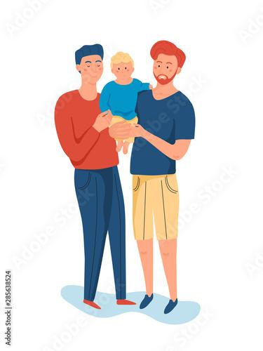 Same sex couple of handsome men, holding his little son. Wallpaper Mural