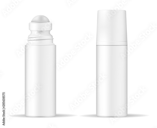 Fotografía Body antiperspirant deodorant roll-on, open and closed blank white bottle with screw cap