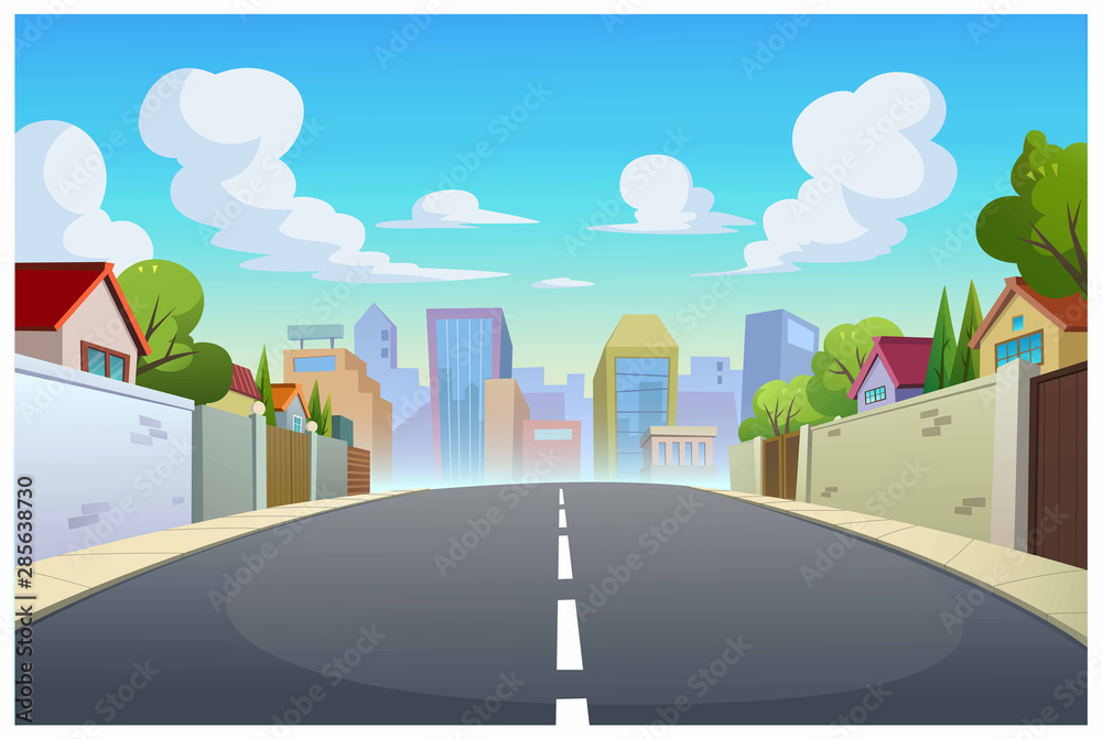 Fototapety, obrazy: Graphics, villages and roads in the daytime.