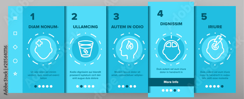 Headache Onboarding Mobile App Page Screen Vector Thin Line. Migraine Brain, Tension And Cluster Headache Symptom Linear Pictograms. Head Medical Problem Illustrations
