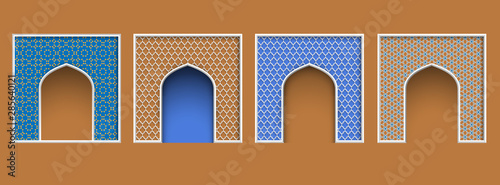 Photo Arabic style arch frame, set of islamic ornate architectural elements for Eid al