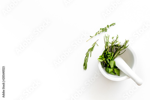 Store up medicinal herbs on white background top view space for text Canvas Print