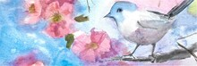 Bird On A Branch With Flowers And Blue Sky