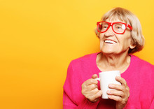 Portrait Of Old Excited Lady S...