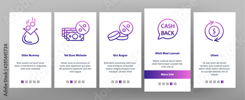 Photo Cashback Service Onboarding Mobile App Page Screen Vector Thin Line