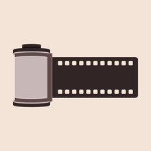 Elegant Camera Film Roll Cartridge On The Beige Background. Film Roll Icon. Retro Photography Concept. Film Negative. Filmstrip, Photography Equipment. Vector Illustration, Flat Style, Clip Art.
