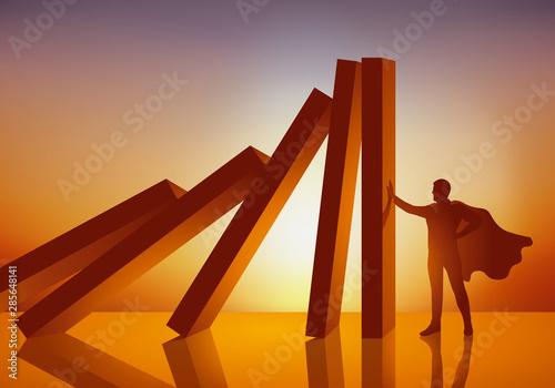 Concept du super-héros, qui grâce à ses pouvoirs, retient la chute d'un panneau, évitant une catastrophe en stoppant net les effets d'une réaction en chaine Canvas Print