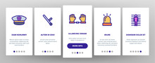 Arrest Onboarding Mobile App Page Screen Vector Thin Line. Police Car, Alarm Siren And Hat, Gun And Badge, Prison And Handcuffs Arrest Equipment Linear Pictograms. Illustrations
