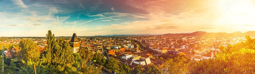 Fototapety, obrazy: Panoramic view at Graz city with his famous buildings. Colorfull light leak and flare