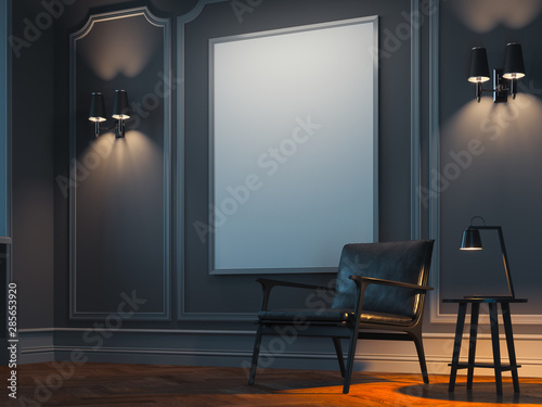 Obraz Blank white poster in modern stylish room on bright wall near black armchair. 3d rendering - fototapety do salonu